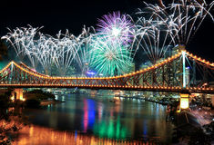 Riverfire Festival in Brisbane. Fireworks on the Story Bridge during the Riverfire Festival on 12 September 2009 Stock Images