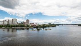 Riverfront and Alexandra Bridge in Gatineau Stock Image