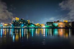 Free Riverfront Board Walk Scenes In Wilmington Nc At Night Stock Photography - 77407422
