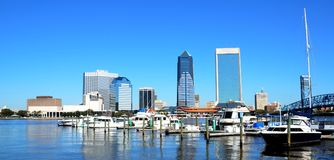 Riverfront of Jacksonville. The riverfront with boats moored in Jacksonville, Florida, USA Royalty Free Stock Photo