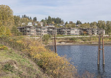 Riverfront condominiums and nature Vancouver WA. Stock Images