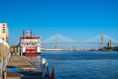 Riverfront of downtown Savannah in Georgia. USA Royalty Free Stock Images