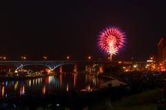 Riverfront fireworks Stock Photography