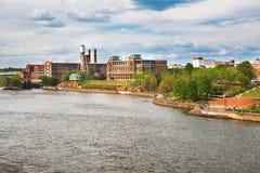 Riverfront och centrum i Columbus, GUMMIN Fotografering för Bildbyråer