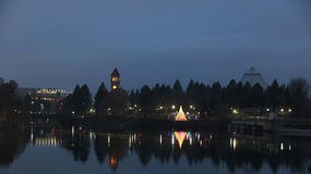 Riverfront park at night near christmas with reflections Royalty Free Stock Photography