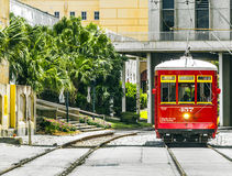 Riverfront streetcar in New Orleans Royalty Free Stock Images