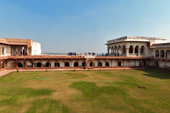 Riverfront terrace in Red Agra Fort Stock Photos