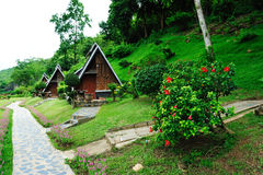 Riverkwai Cabin Tropical Resort in Kanchanaburi Stock Photo