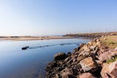 Rivermouth Beach Ocean Stock Photos