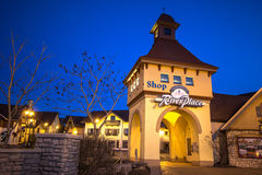Riverplace Shops In Frankenmuth Michigan. Frankenmuth, Michigan, USA - April 17, 2016. Exterior of the German themed outdoor shopping center Riverplace in the stock image