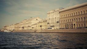 Rivers and canals of St. Petersburg. St. Petersburg floating ship sunny summer day rivers and canals bridges stock video footage