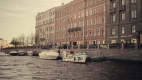 Rivers and canals of St. Petersburg. St. Petersburg floating ship sunny summer day rivers and canals bridges stock footage