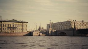 Rivers and canals of St. Petersburg. St. Petersburg floating ship sunny summer day rivers and canals bridges stock video