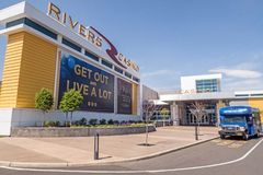 Rivers Casino & Resort for legal gambling and entertainment. Schenectady New York entrance and city bus stop, slots, poker & table games, dining, spa royalty free stock images