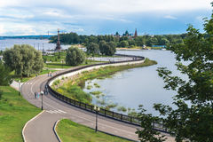 Rivers converge in Yaroslavl, Russia Stock Photos