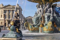 Free Rivers Fountain At Place De La Concorde With The Madeleine Church In The Background In Paris Royalty Free Stock Photos - 189167108