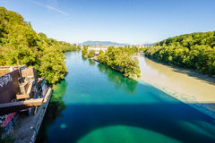 Rhone and Arve river confluence, Geneva - HDR Royalty Free Stock Photography