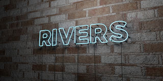 RIVERS - Glowing Neon Sign on stonework wall - 3D rendered royalty free stock illustration. Can be used for online banner ads and direct mailers Stock Image