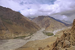 Rivers Merging in the High-Altitude Mountain Desert of the Spiti Valley in the Himalayas Stock Image
