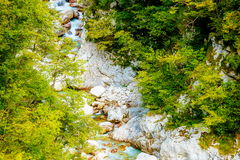Rivers in the mountains with beautiful turquoise water. Soca Riv Royalty Free Stock Image
