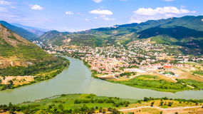 The Rivers Mtkvari And Aragvi. The Top View Of Mtskheta, The Rivers Mtkvari And Aragvi Royalty Free Stock Photography
