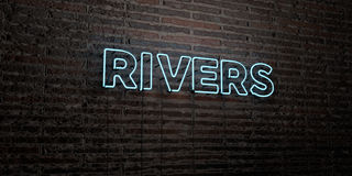 RIVERS -Realistic Neon Sign on Brick Wall background - 3D rendered royalty free stock image. Can be used for online banner ads and direct mailers Royalty Free Stock Photos