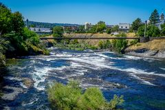 The Rivers Sparkling Waters. The stunning Riverfront Park in Spokane Washington shows off the sparkling waters of the Spokane River royalty free stock photography