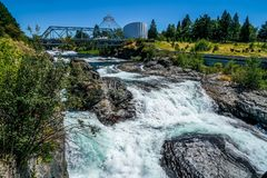 The Rivers Sparkling Waters. The stunning Riverfront Park in Spokane Washington shows off the sparkling waters of the Spokane River royalty free stock images