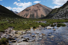 Rivers in  Tibet. A  very clean   stream above 15000 feet Royalty Free Stock Image