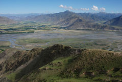 Rivers in  Tibet. The  valley of Lhasa river  in Tibet Stock Photography