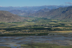 Rivers in  Tibet. The  valley of Lhasa river  in Tibet Royalty Free Stock Photography