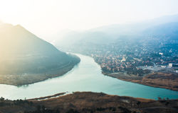 Rivers. View to confluence Aragvi and Kura rivers and old town Mtsheta from Jvari monastery, Georgia Royalty Free Stock Photo