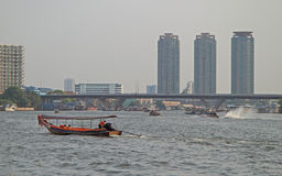 Riverscape in Bangkok, the capital of Thailand Royalty Free Stock Photos