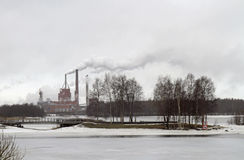 Riverscape with island and bridge in Oulu Stock Photos
