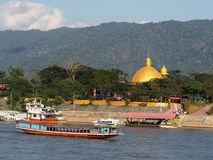 Riverscape tourist boats and business scene over MEKONG river, at GOLDEN TRIANGLE Stock Photos