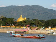 Riverscape tourist boats and business scene over MEKONG river, at GOLDEN TRIANGLE Stock Photography