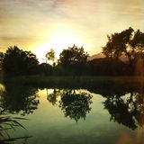 Riverscape view at early morning with the sun rising and with reflections in the water Royalty Free Stock Images
