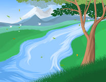 Riverscapes Scene Vector Nature Background Stock Photo