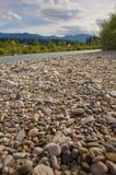 Riverside. Landscape of riverside and stone. Drava river, Austria Royalty Free Stock Image