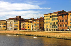 Riverside. Pisa City setting - Buildings on the Arno river Stock Photography