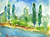 Riverside. Watercolor landscapes with the riverside and cypresses vector illustration