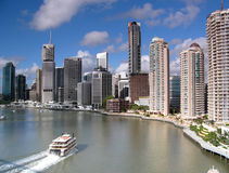 Riverside. In Queensland capital Brisbane with CBD and skyscrapers in background Stock Photo