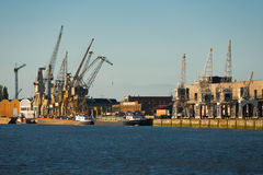 Riverside Antwerp Docks Cranes Ships Royalty Free Stock Photos