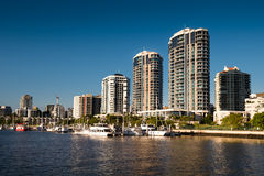 Riverside apartments in Brisbane. Riverside Apartment Buildings in Brisbane, Australia`s third largest city. Life revolves atround the serpentine river Royalty Free Stock Photo