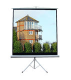 Riverside apartments on movie screen. Photo of riverside apartments projected onto movie screen royalty free stock images