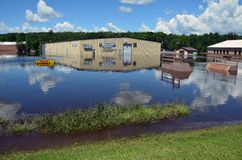 Riverside Arena in Flood Stock Photo