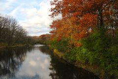 Free Riverside Autum Colored Trees In Illinois Royalty Free Stock Photos - 165260618