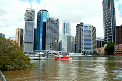Riverside Brisbane. Australia seen from the Holman Street ferry side of the Brisbane River Stock Images