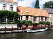 Riverside of Brugge Stock Photos