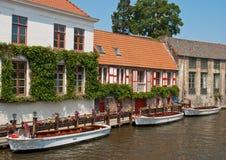 Riverside of Brugge Stock Images